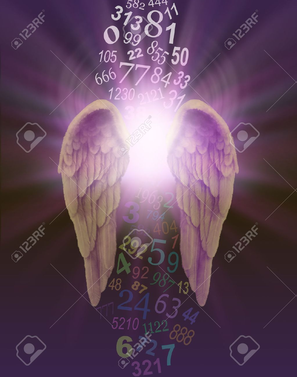 Angel Numbers - a pair of angel wings with burst of divine light behind and a stream of random numbers above and below appearing to be cleansed by the light on a dark purple background - 56095796