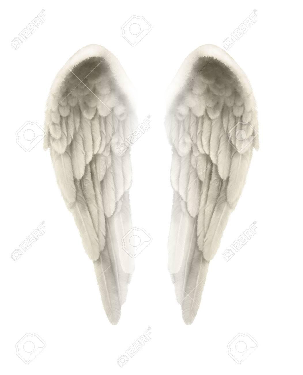 Aile D Ange 3d illustration d'ailes d'ange, isolé, sur fond blanc - finement