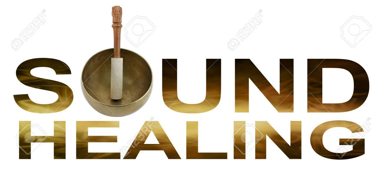 Sound Healing - Tibetan Singing Bowl making the O of SOUND HEALING with golden brown flowing wave like detail inside letters isolated on white background - 60751718