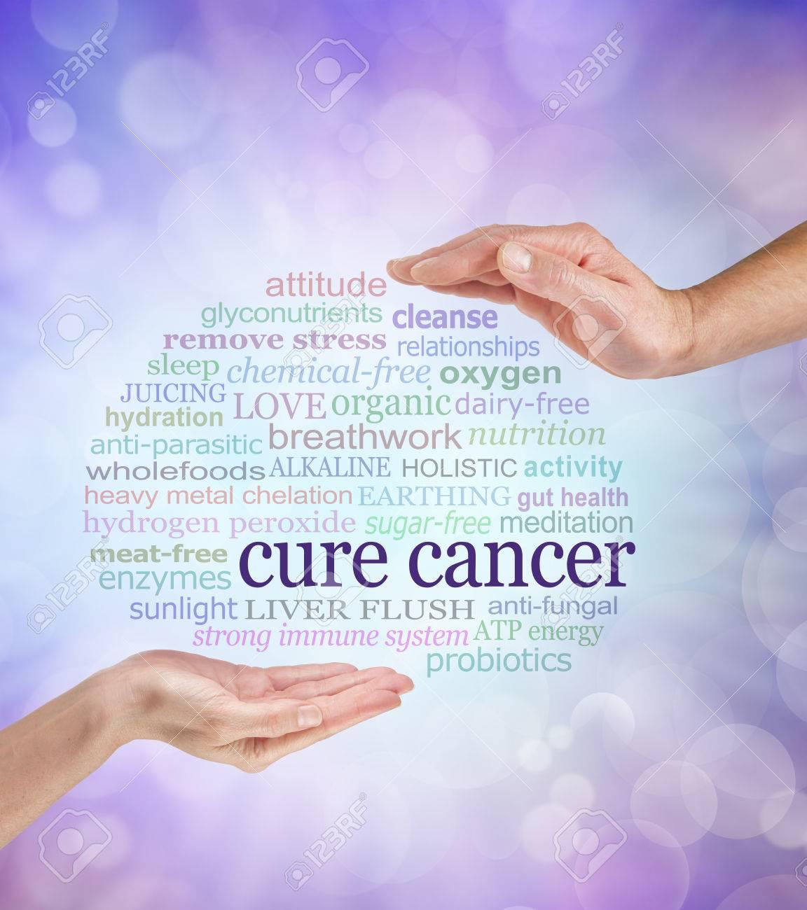 parole associate con cure per il cancro olistiche un maschio e archivio fotografico parole associate con cure per il cancro olistiche un maschio e una femmina mano di fronte all altro con le parole curare il cancro