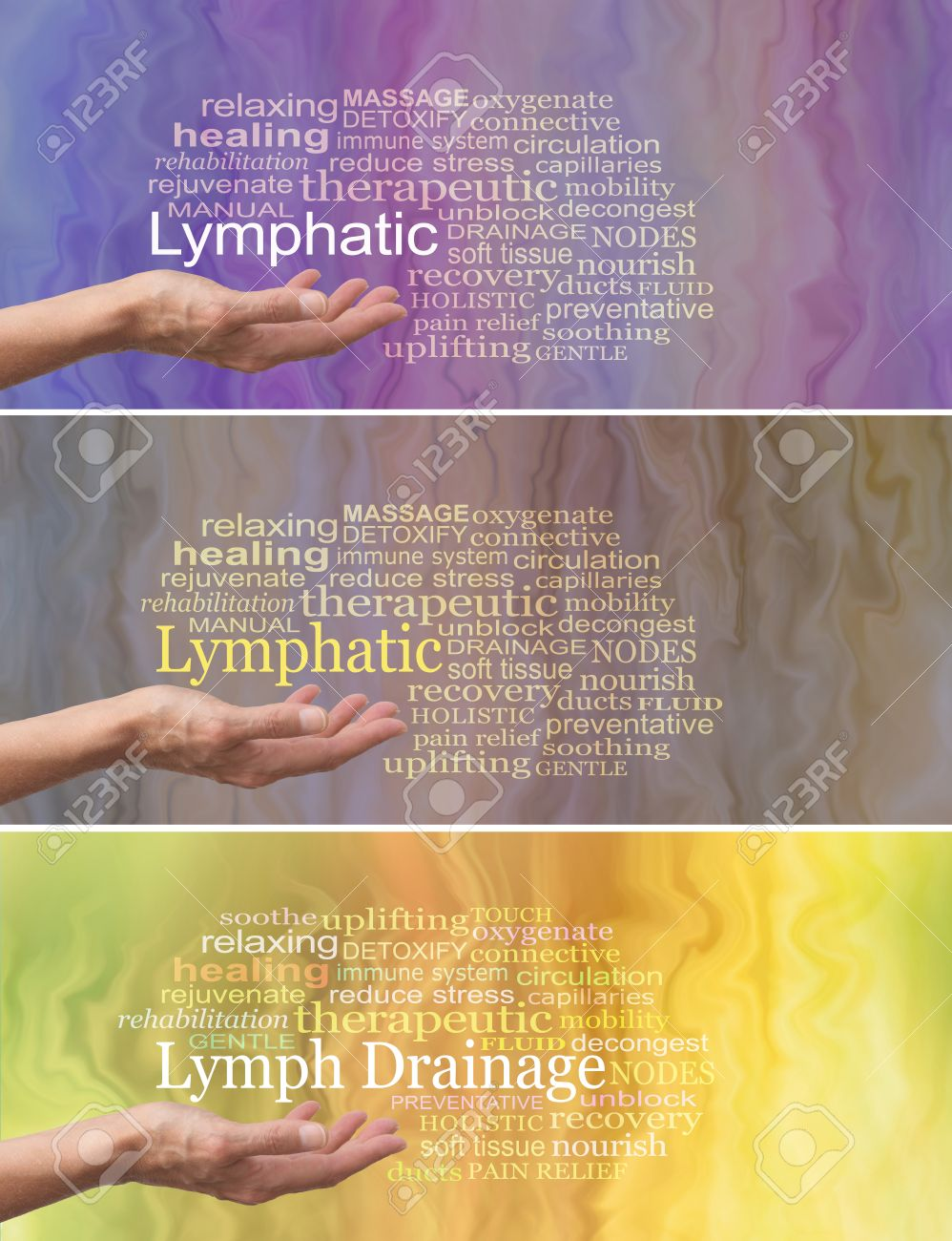 Manual Lymphatic Drainage Word Cloud x 3 - female hand palm facing up with the word LYMPHATIC DRAINAGE above surrounded by a relevant word cloud on a fluid like background showing three different colorways - 62352276