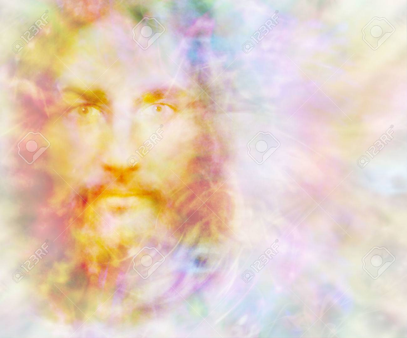 Gentle Spirit - ethereal golden light forming the face of a gentle spirit on a pastel colored energy field background with copy space on right - 68539096