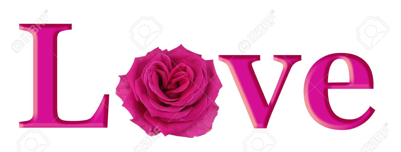 Lovely Pink Rose Heart In Love Simple Pink Graphic Of The Word Love With A