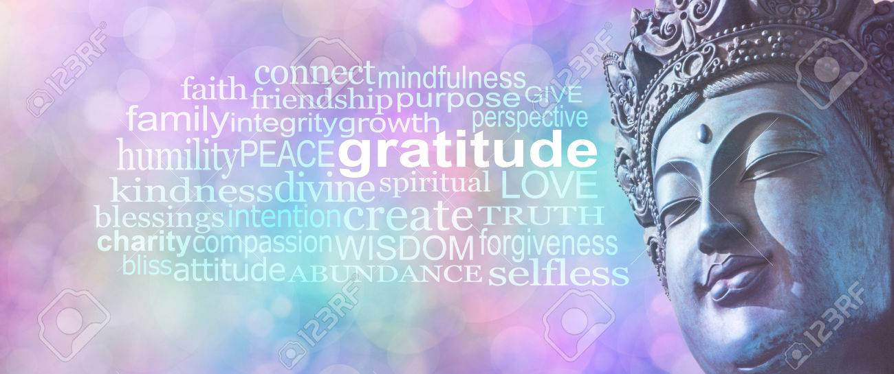 Gratitude Buddhism Word Cloud Banner Close Up Of Blue Grunge Stock Photo Picture And Royalty Free Image Image 72098279