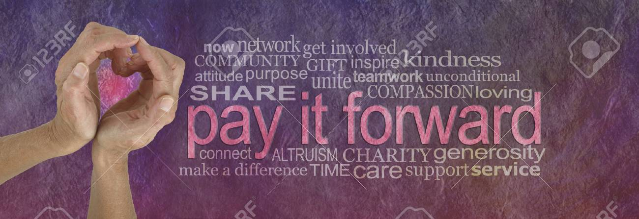 PAY IT FORWARD with love word cloud - campaign banner with female hands making a heart shape on left with a PAY IT FORWARD word cloud beside on a rustic parchment background - 92022399