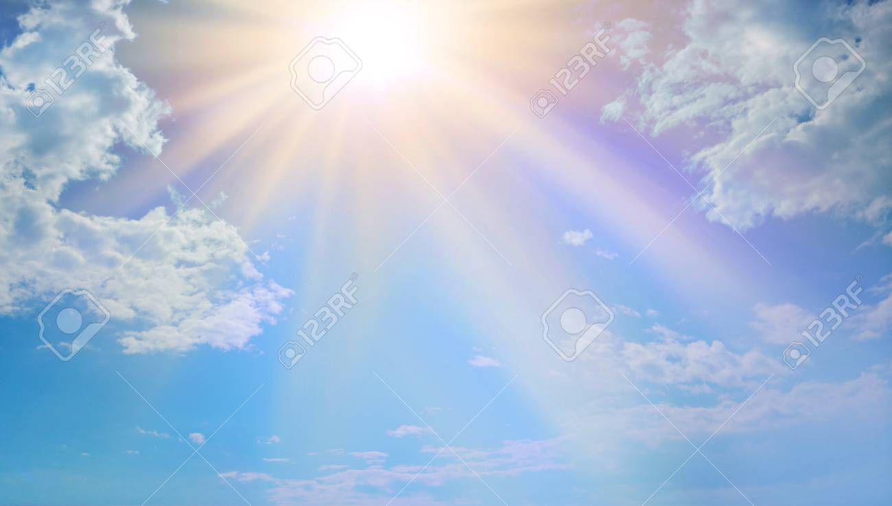 Miraculous Heavenly Light - Blue sky, fluffy clouds and a beautiful warm orange yellow sun beaming down radiating depicting a holy entity - 97132860