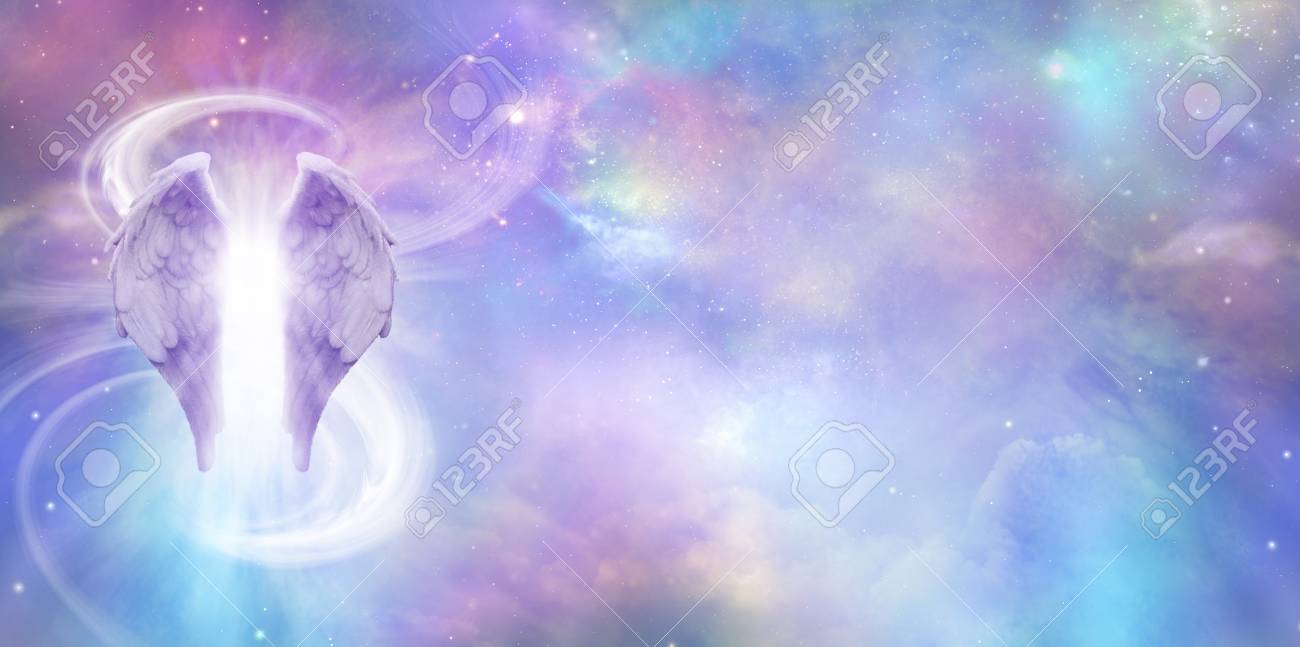 Heavenly Angel Spirit Banner - a pair of Angel Wings with a swish of white energy behind set against a wide vivid cosmic Universe background with copy space - 102763867