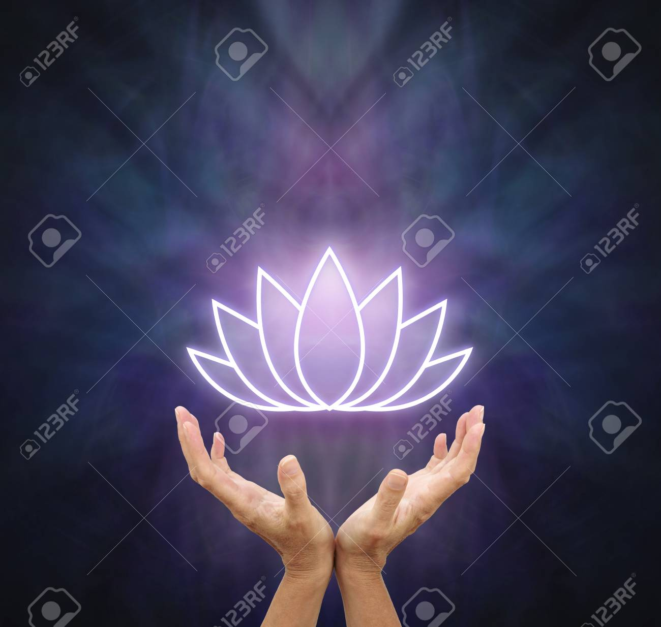 Symbolic Lotus Healing Energy Female Hands Reaching Up And