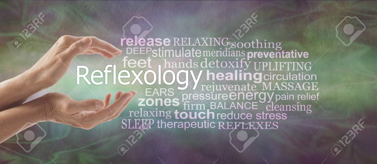 Reflexology Descriptive Word Tag Cloud Banner - female cupped hands with the word REFLEXOLOGY floating between surrounded by a relevant word tag cloud on a rustic multi coloured background - 106411228