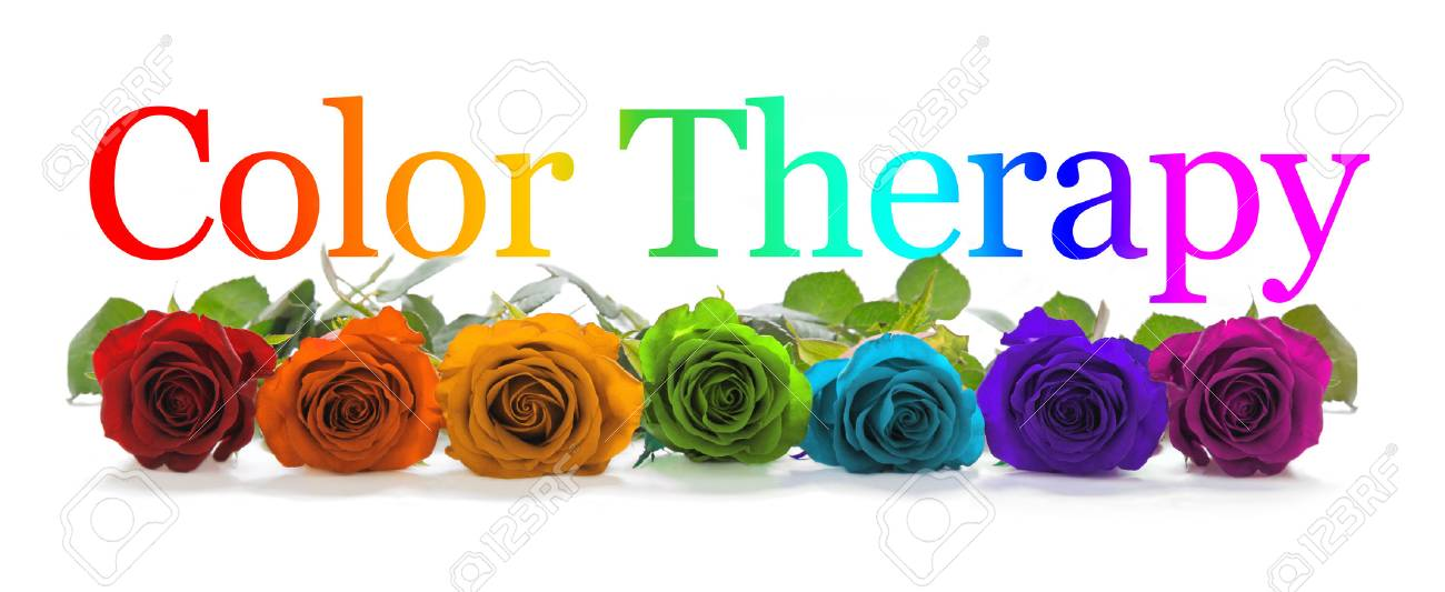 Color Healing Therapy Banner - A row of seven rose heads in red, orange, yellow, green, turquoise, indigo and magenta with a graduated rainbow colored Color Healing phrase positioned above - 108614702