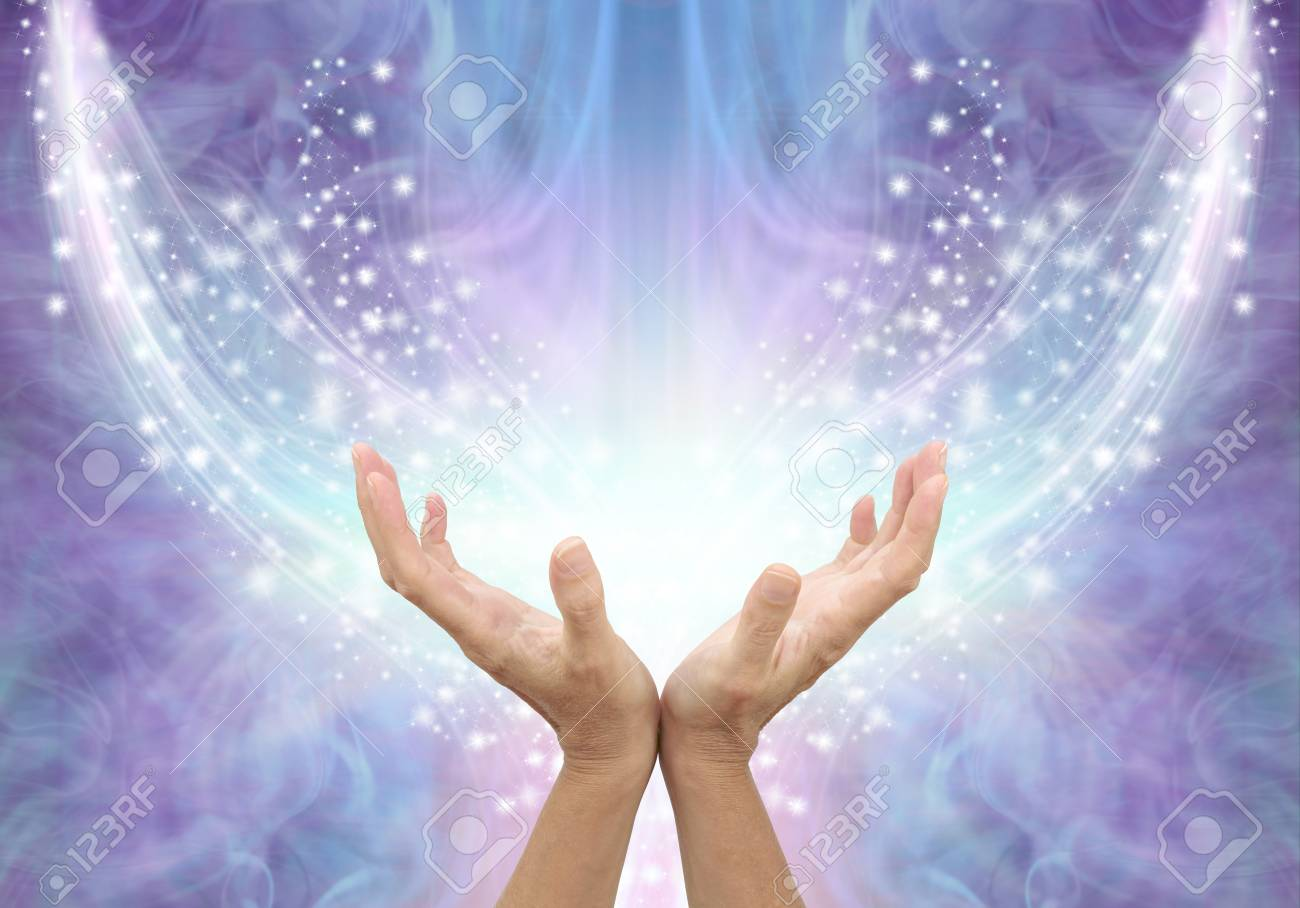 Bathing in Beautiful Healing Resonance - female cupped hands reaching up into an arc of shimmering sparkles on a glowing purple blue ethereal energy formation background with copy space - 114467956