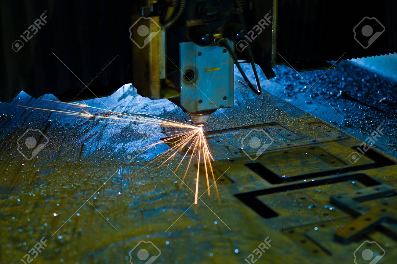 Laser cutting with sparks close up Stock Photo - 13282266