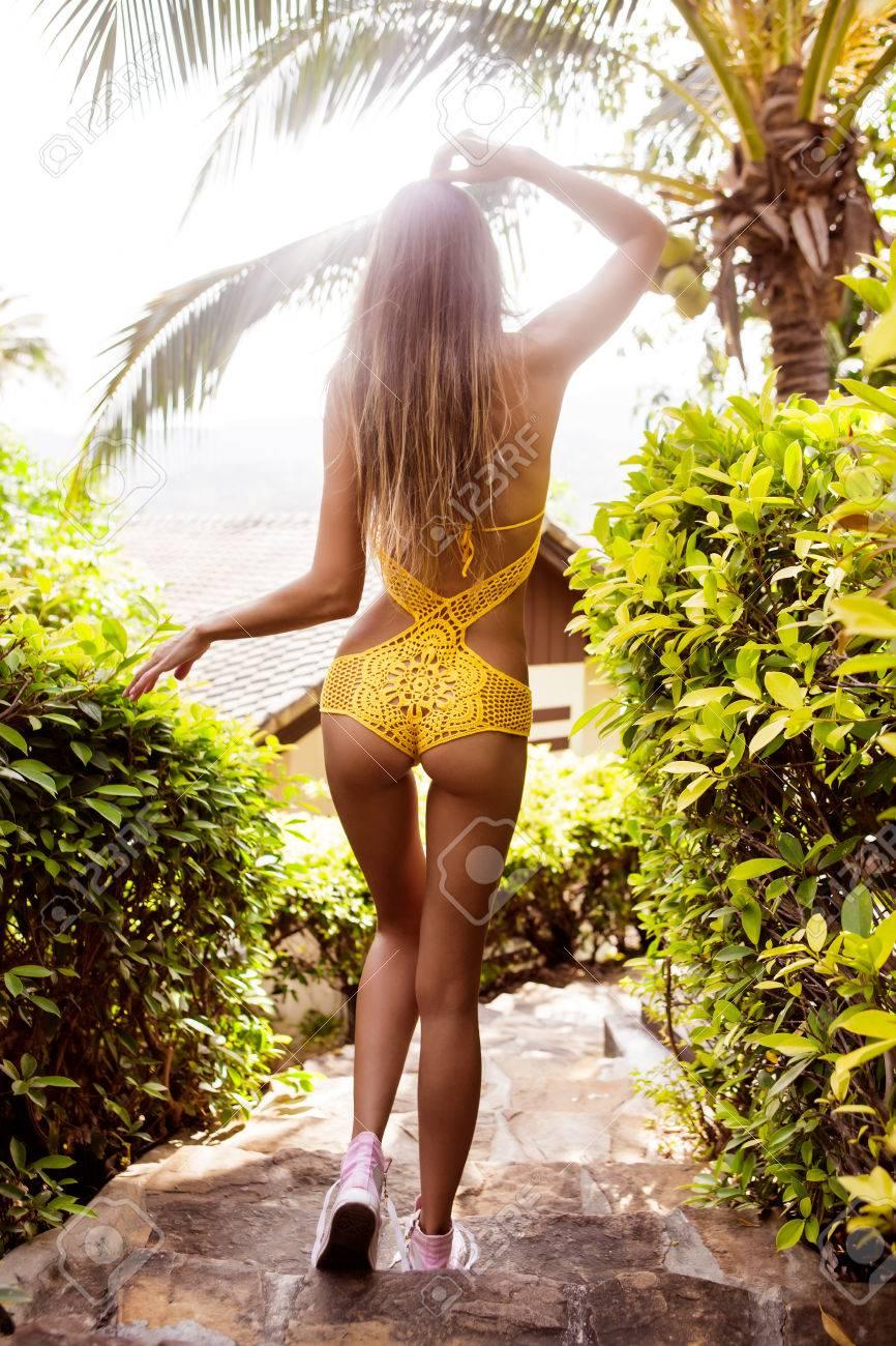 Skinny young sexy girl in bikini — 15