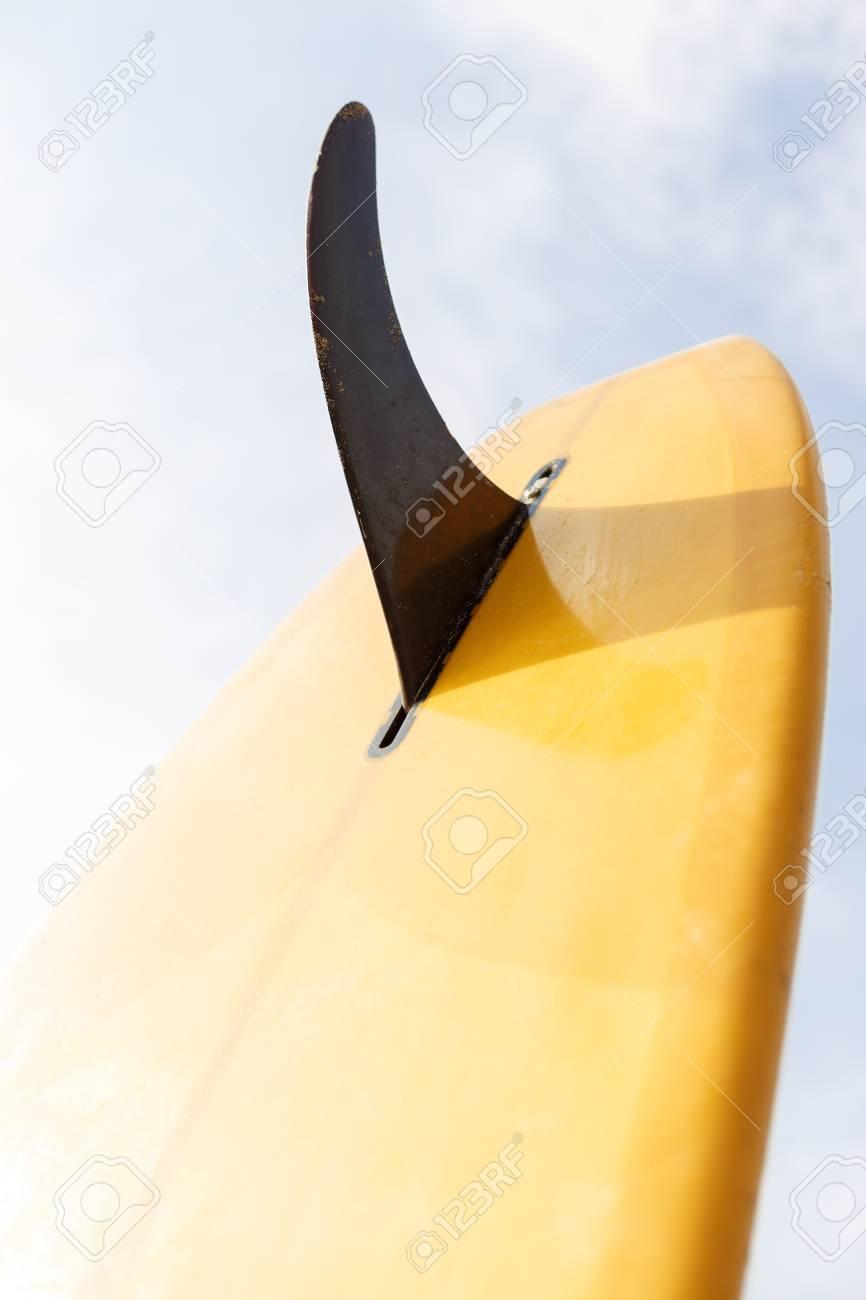 Closeup Of A Good Yellow Single Fin Surf Longboard Surfboard Stock