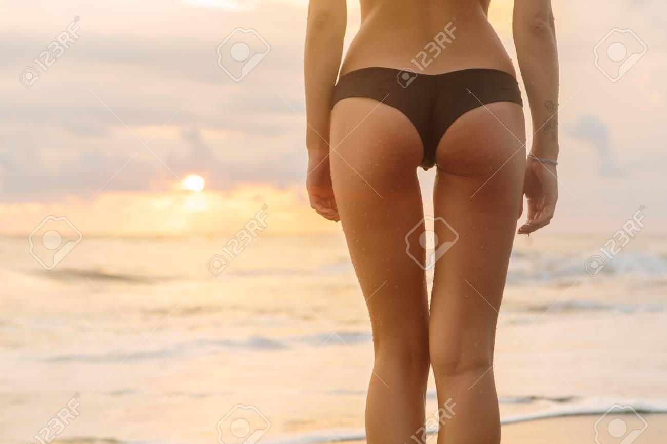 Nice Ass Butt close up of a butt ass of pretty girl in sexy bikini stay in..