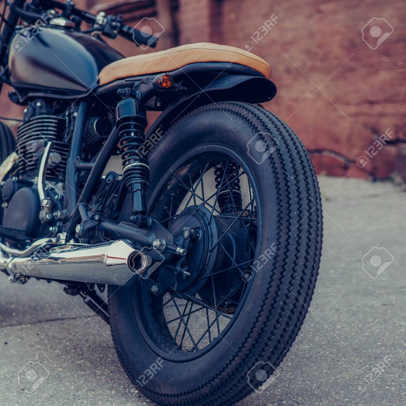Black Vintage Custom Motorcycle Motorbike Caferacer In Front Stock Photo Picture And Royalty Free Image Image 123667739
