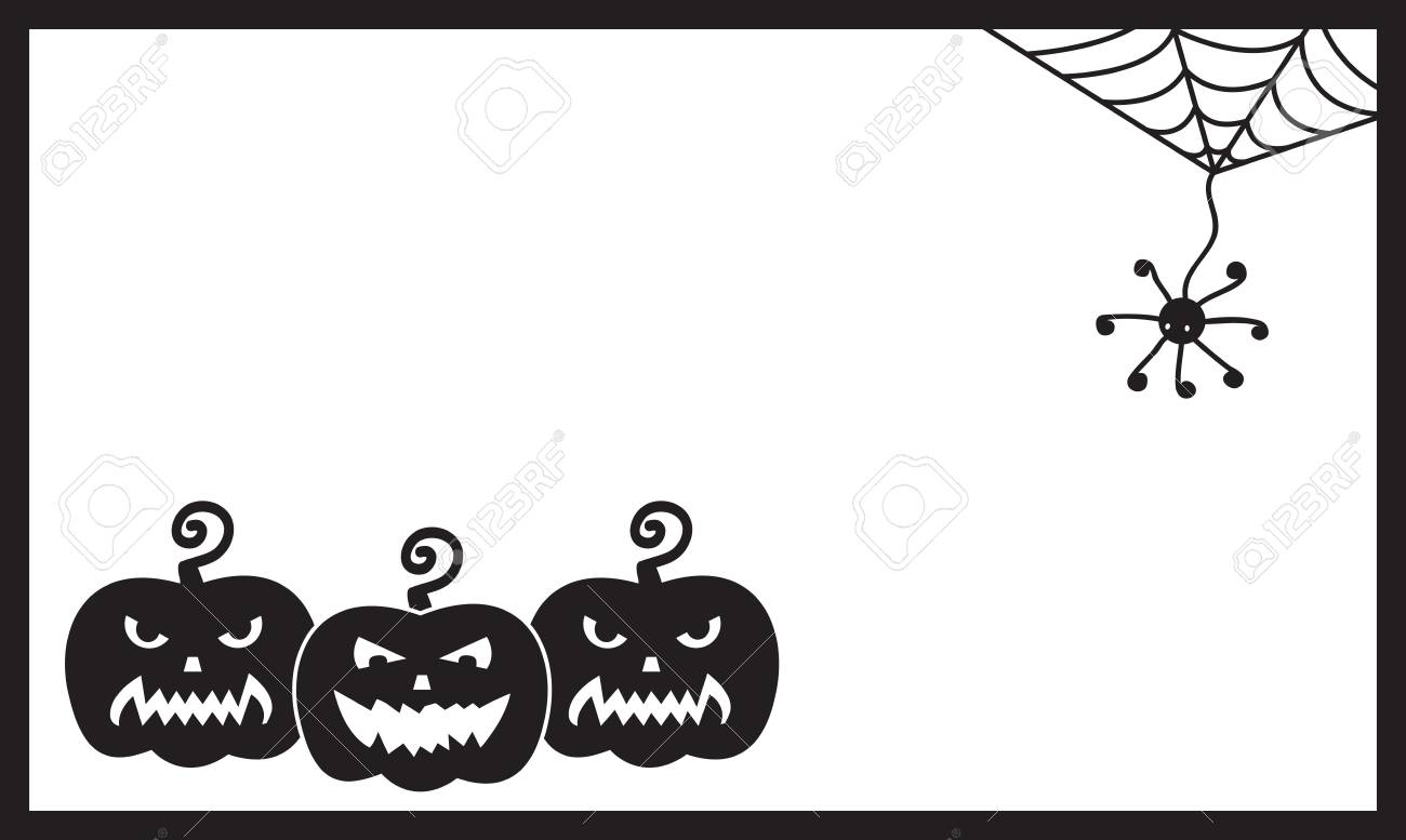 halloween card template with three pumpkins and spider royalty free