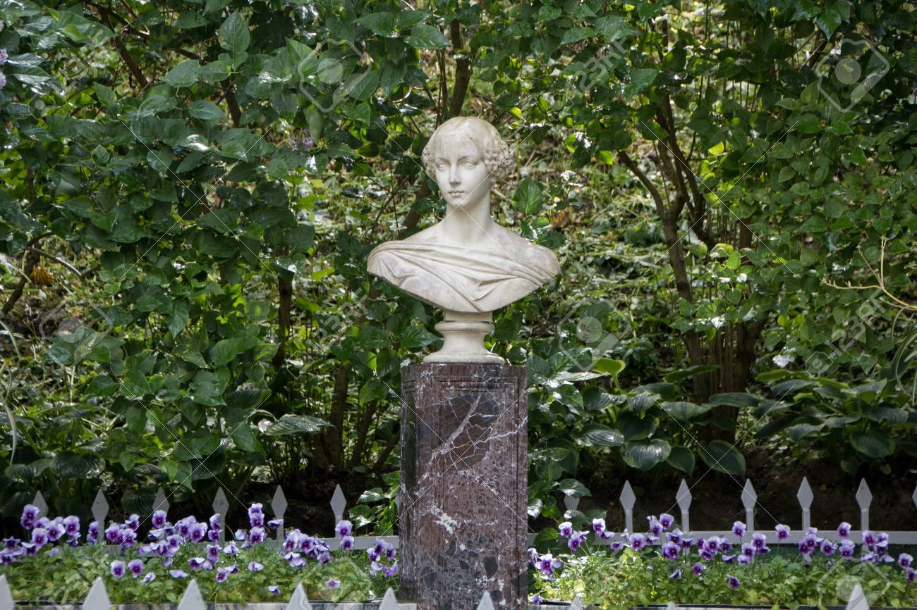 peterhof saint petersburg russia june 10 2016 marble bust of