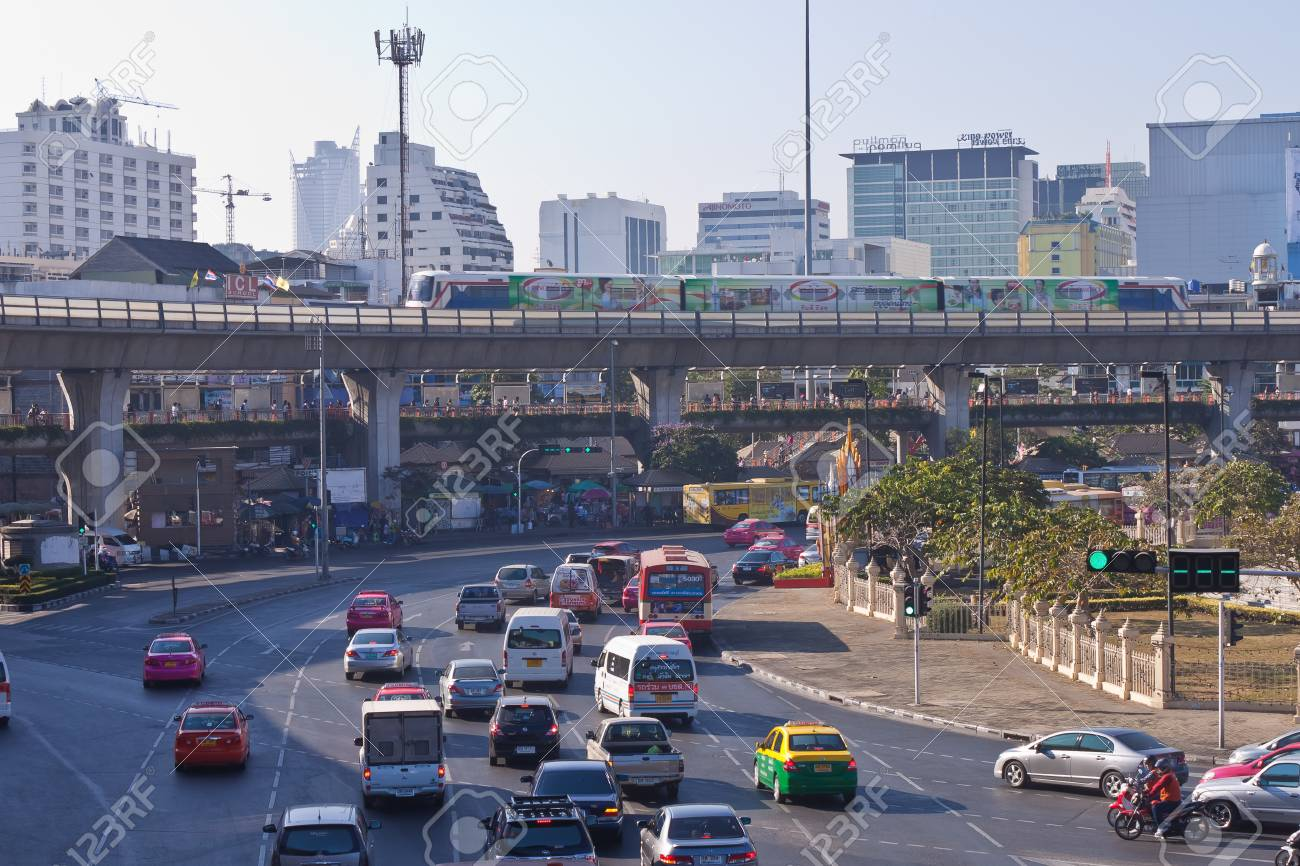 Bangkok, Thailand - December 30: The traffic around the Victory. Monument. In the heart of Bangkok on 30 December to July 2011 in Bangkok. Stock Photo - 11786279
