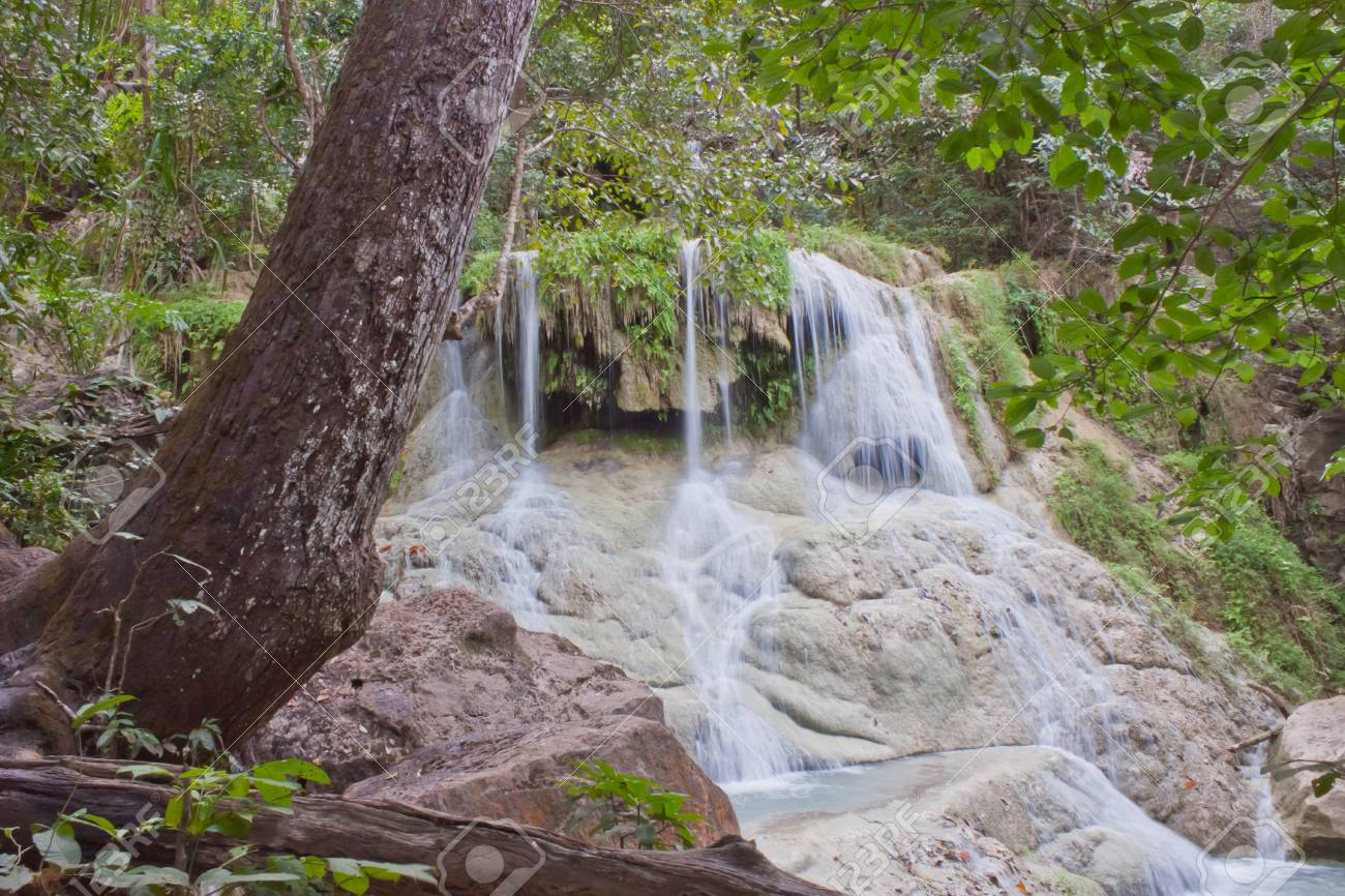 Deep forest Waterfall in Kanchanaburi, Thailand Stock Photo - 17157693