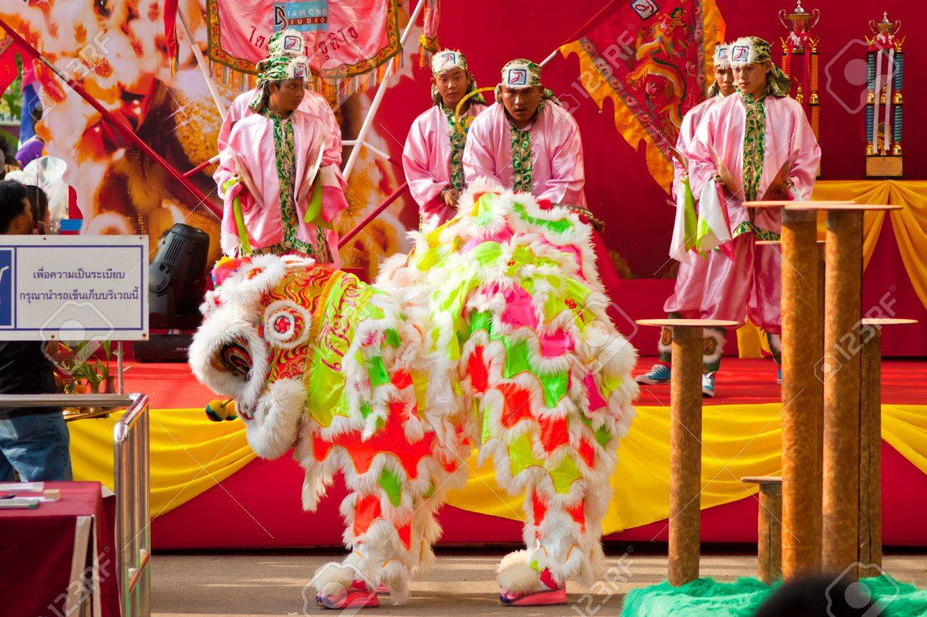 BANGKOK,/THAILAND-JANUARY 20:  lion dance dressing during parade in Chinese New Year Celebrations on January 20, 2013 in BANGKOK Stock Photo - 17403236