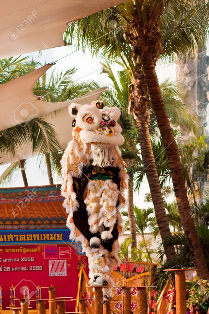 BANGKOK,/THAILAND-JANUARY 20:  lion dance dressing during parade in Chinese New Year Celebrations on January 20, 2013 in BANGKOK Stock Photo - 17713313
