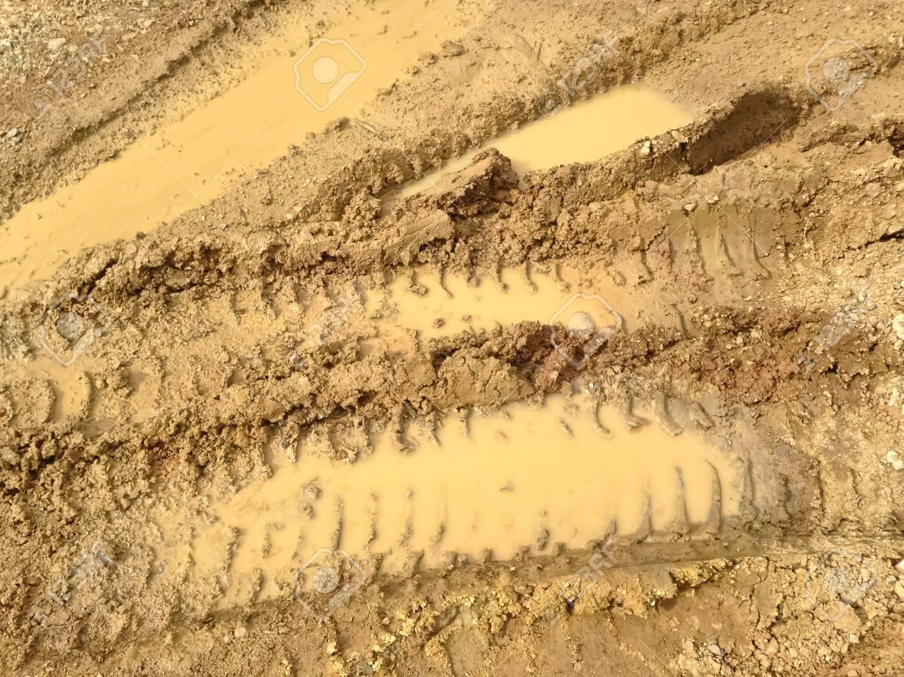 Wheel tracks on the ground Stock Photo - 22009537