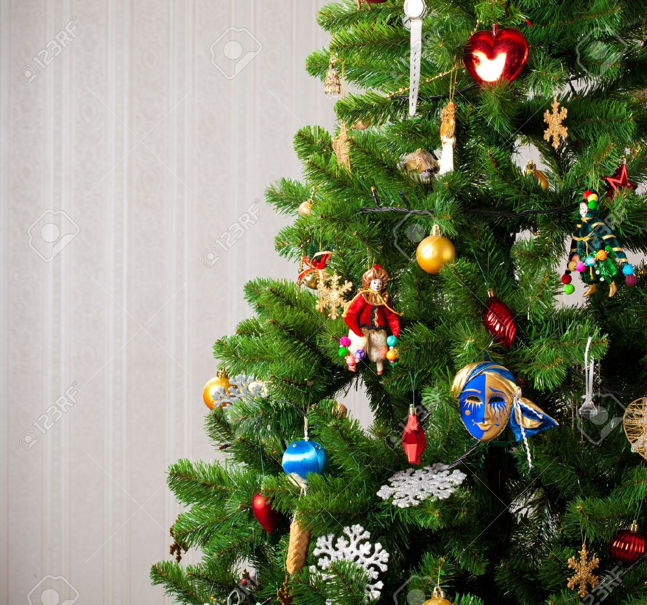 part of decorated christmas tree stock photo picture and royalty