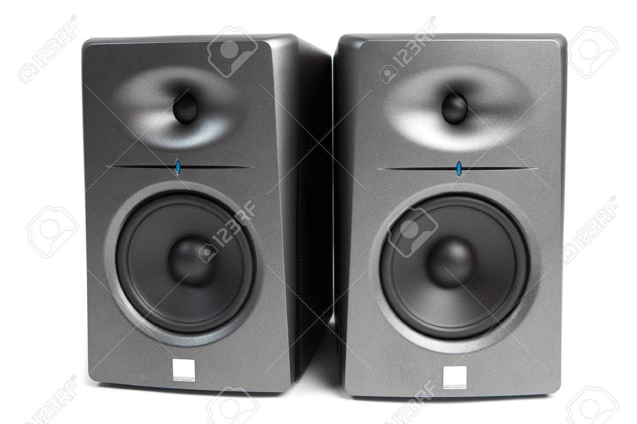 studio audio monitors - high-end sound speakers, isolated on white Stock Photo - 12339191