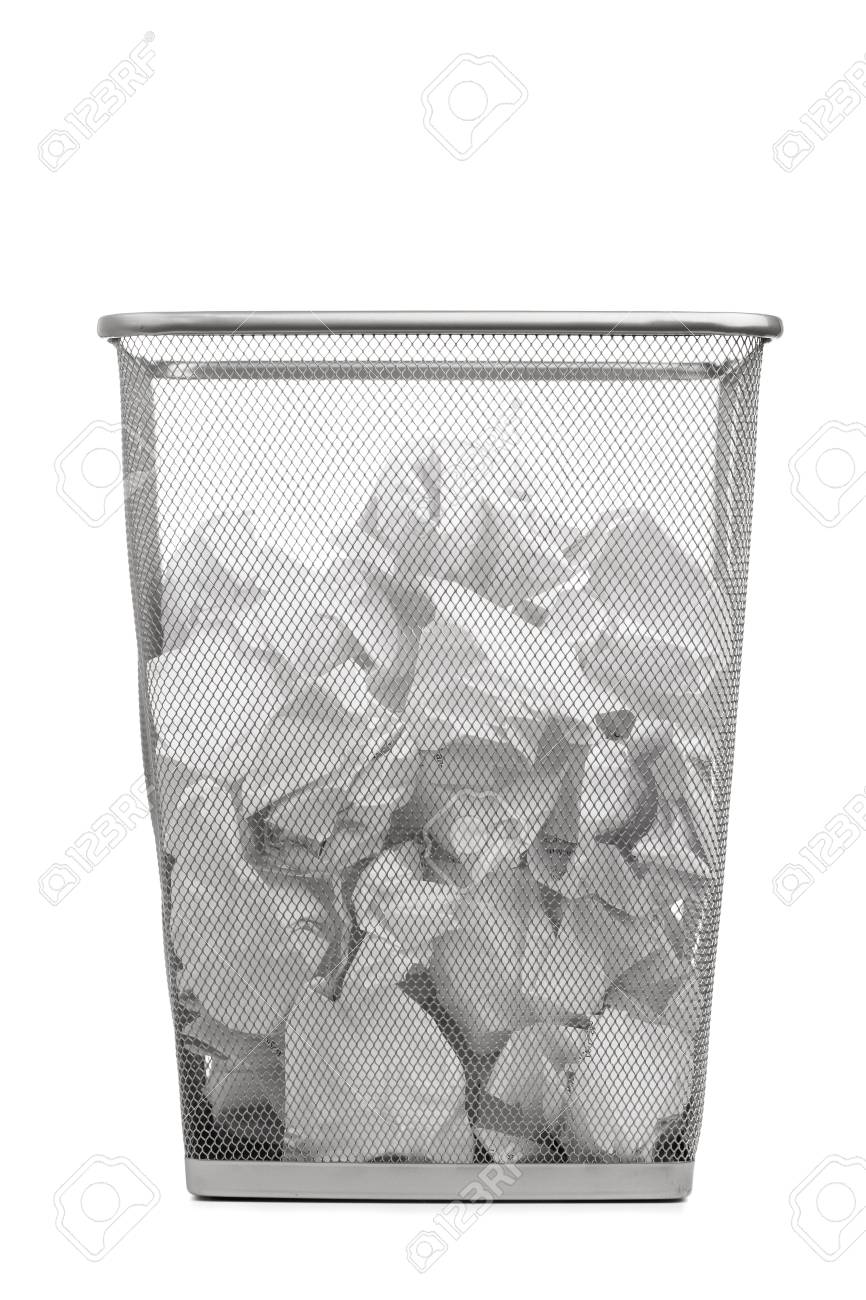 Superbe Office Trash Can With Crumpled Paper, Isolated On White Stock Photo    12702367