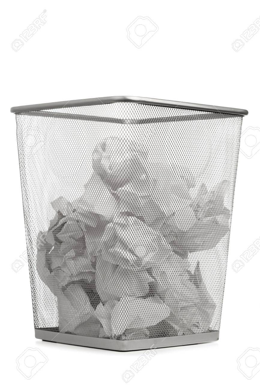 Merveilleux Office Trash Can With Crumpled Paper, Isolated On White Stock Photo    12702851