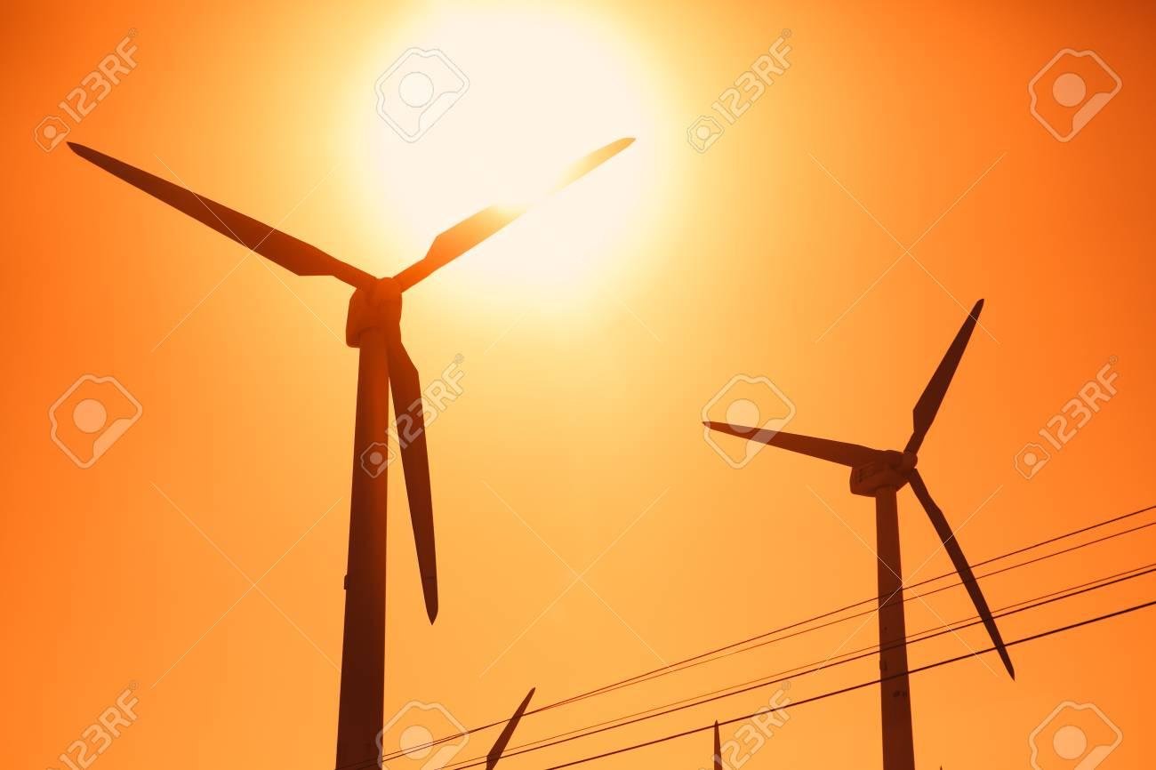 Electric wind turbines farm silhouettes on sun background Stock Photo - 13920809