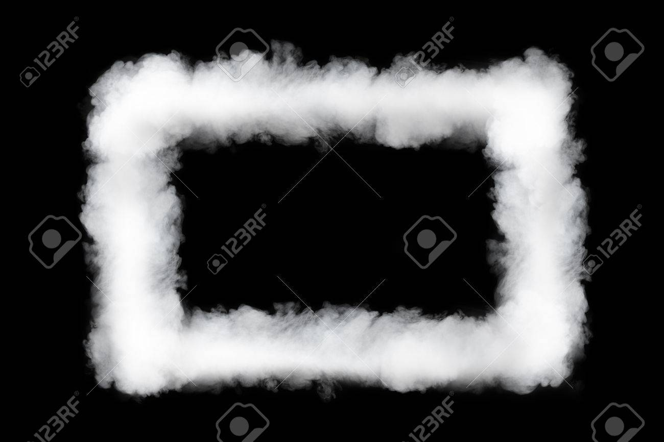 Smoke Cloud Frame, Isolated On Black Stock Photo, Picture And ...