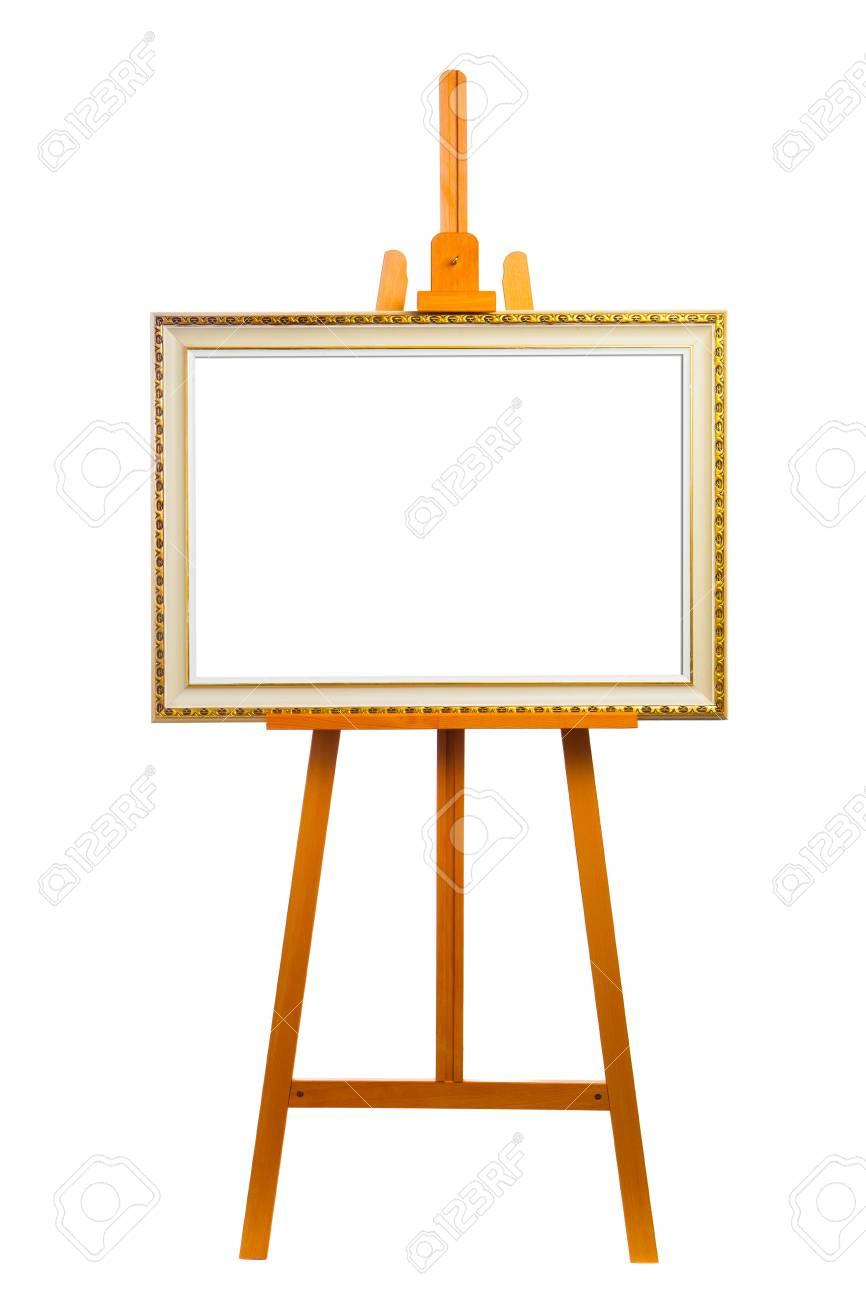 Chevalet Avec Cadre Peinture Isol Sur Blanc Banque D Images Et