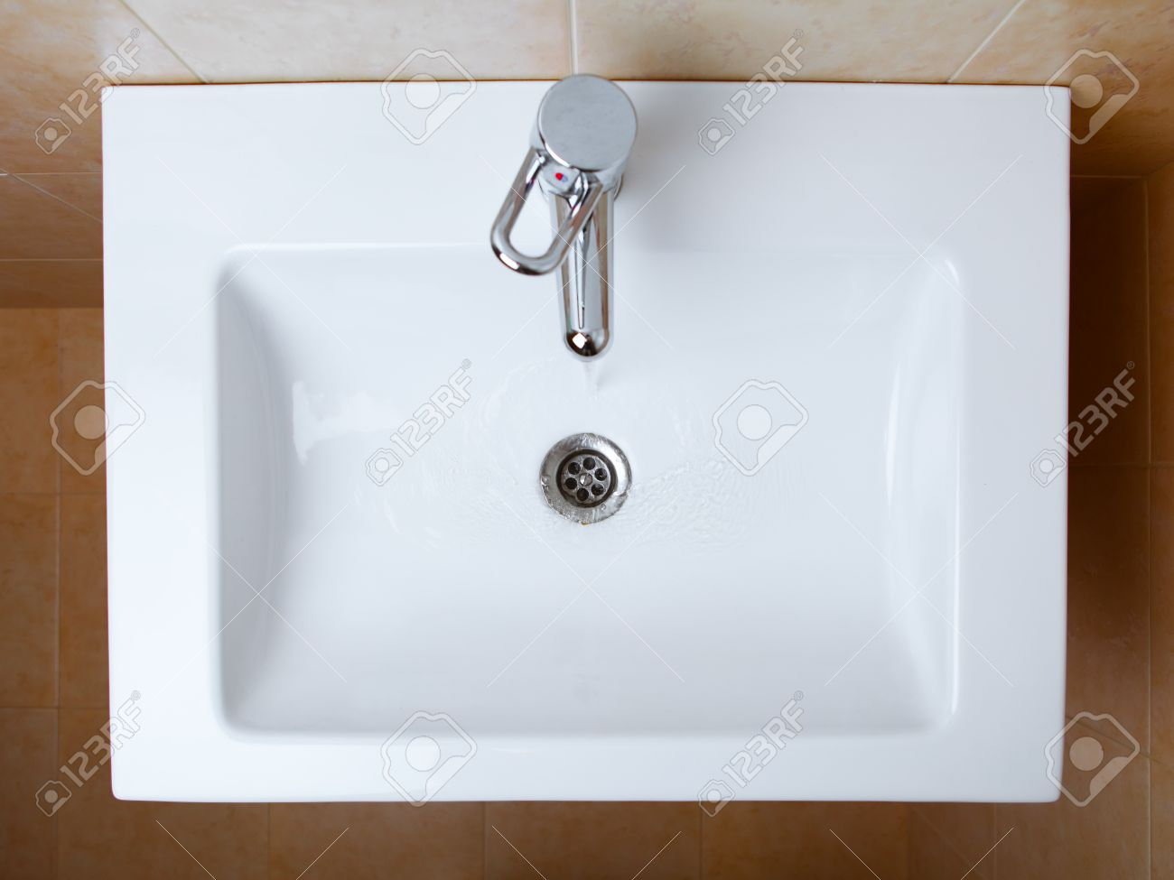 Wash Sink In A Bathroom Top View Stock Photo