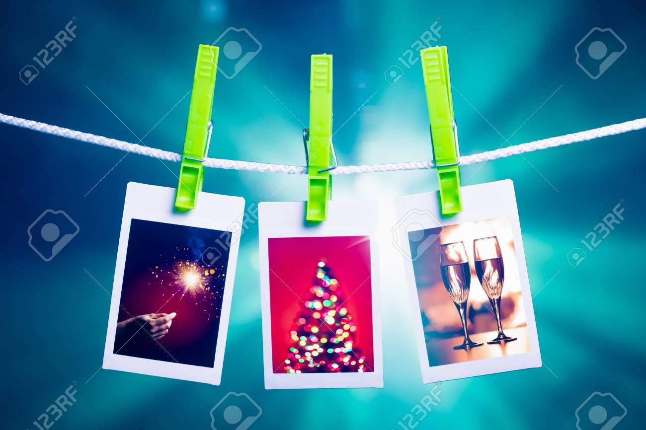 Weihnachten Bilder Hängen Seil, Blaue Lichter Hintergrund ...