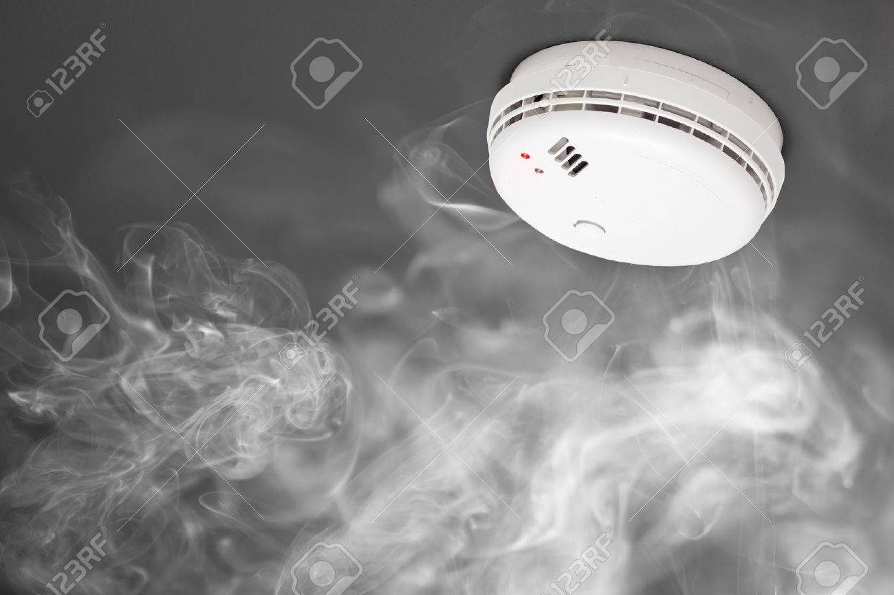 smoke detector of fire alarm in action - 41856707