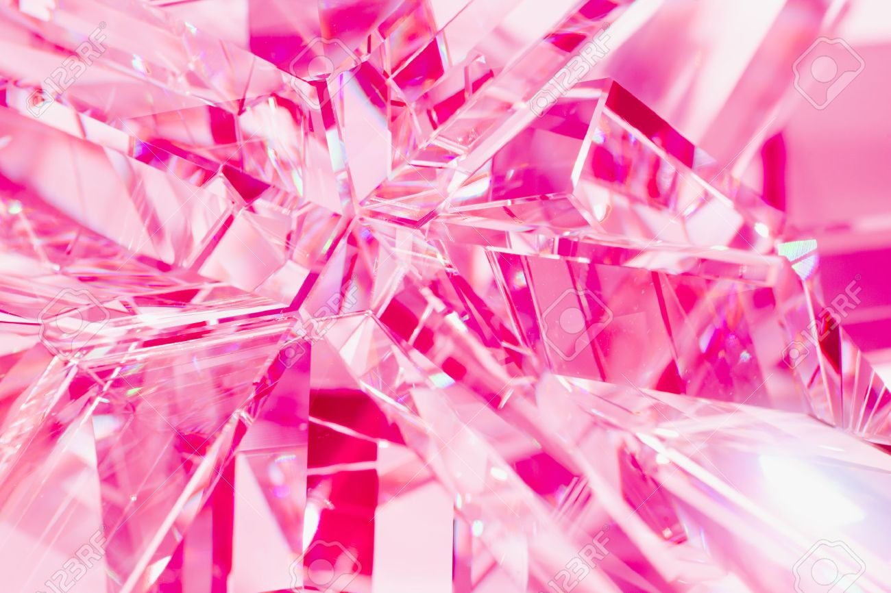 abstract pink background of crystal refractions - 45268154