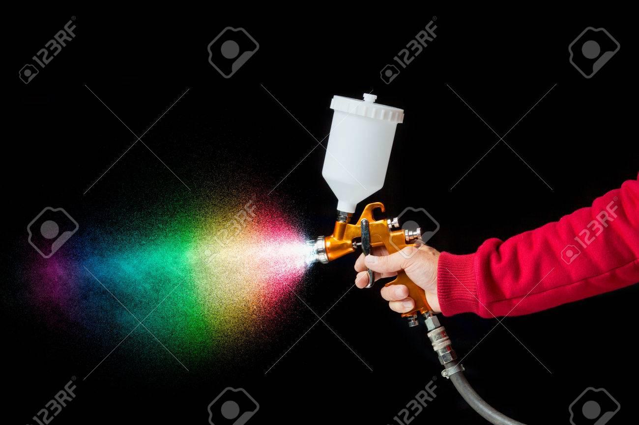 airbrush paint sprayer isolated on black - 51109904