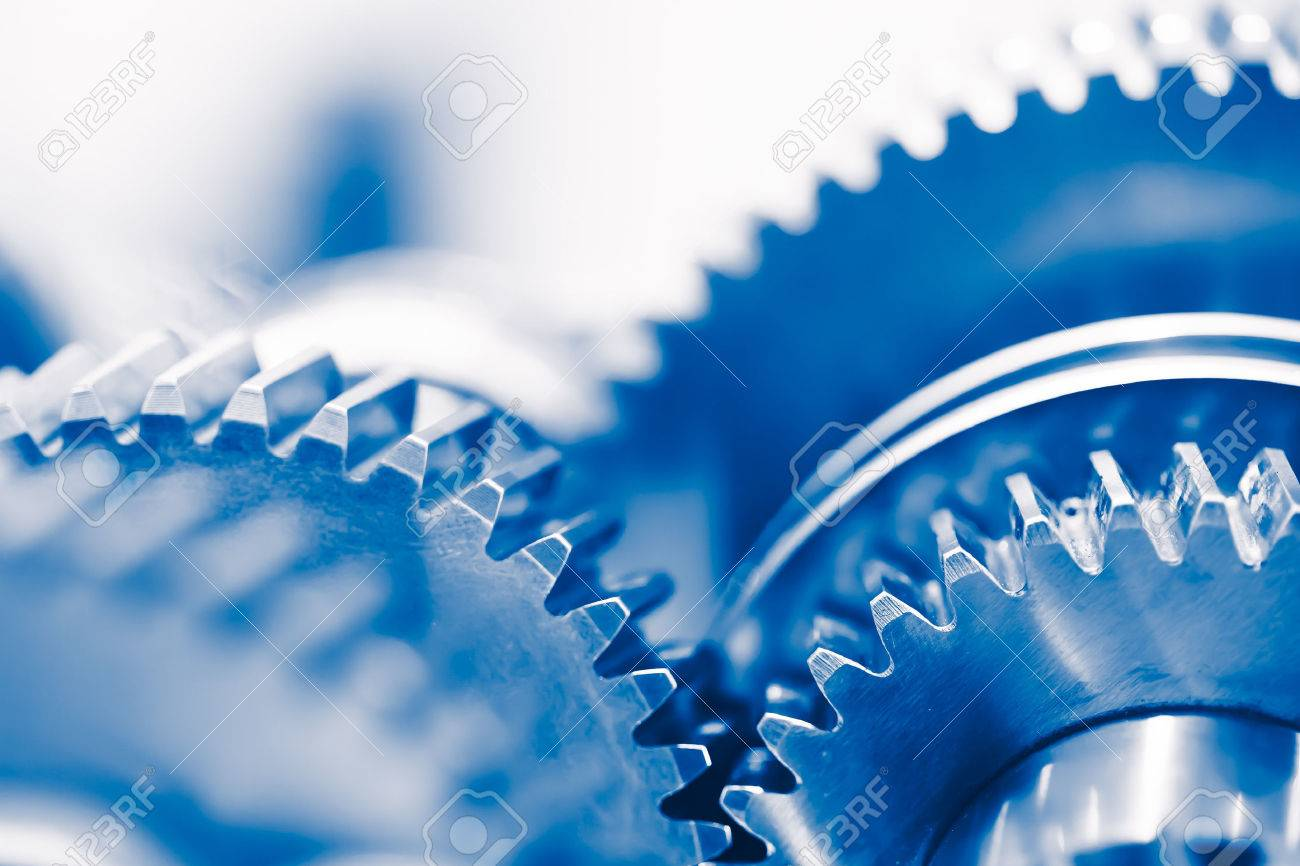 industry background with blue gear wheels - 52833449