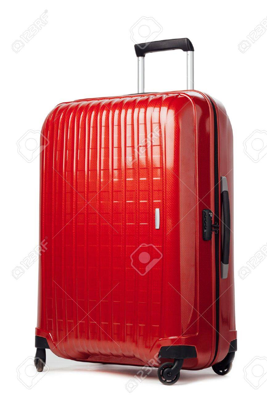 red carbon suitcase isolated on white - 54489628
