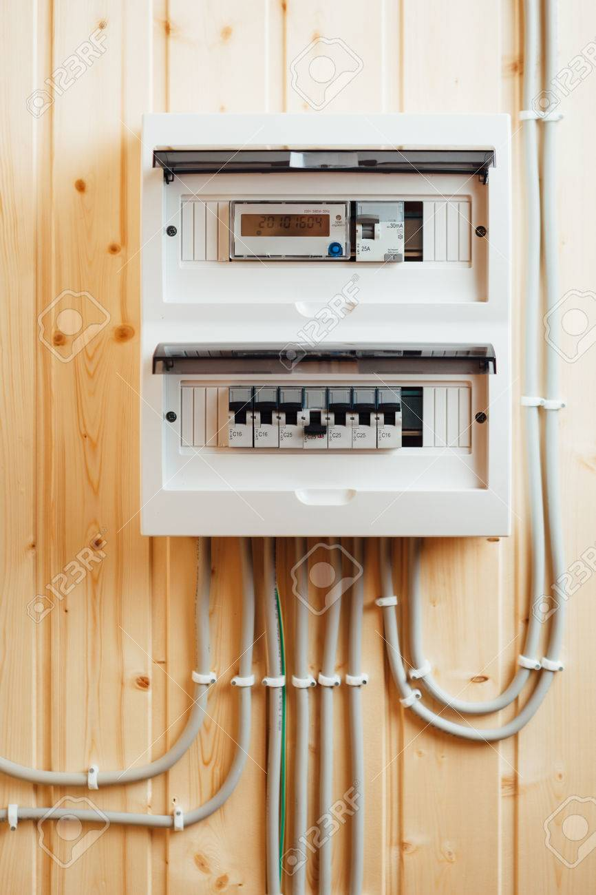 Automatic Fuses In Electricity Distribution Box Fusebox Inside House Fuse Wiring Wooden Stock Photo 68152046