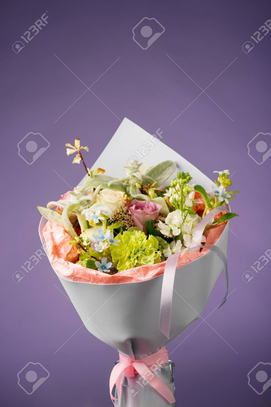 Birthday Flowers Bouquet, Purple Background Stock Photo, Picture And ...