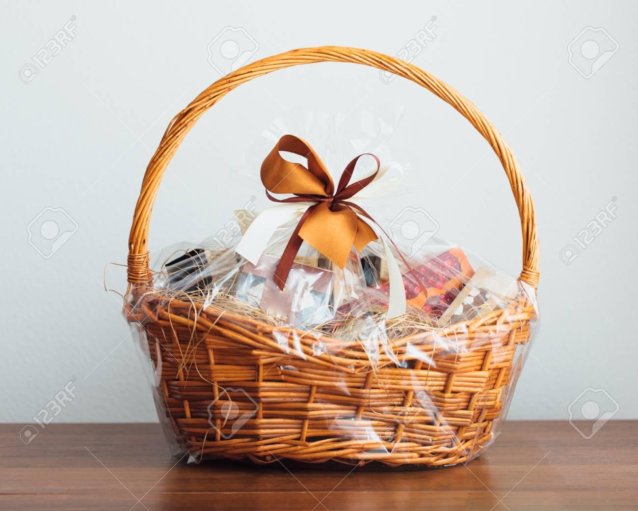 gift basket on grey background - 80707282