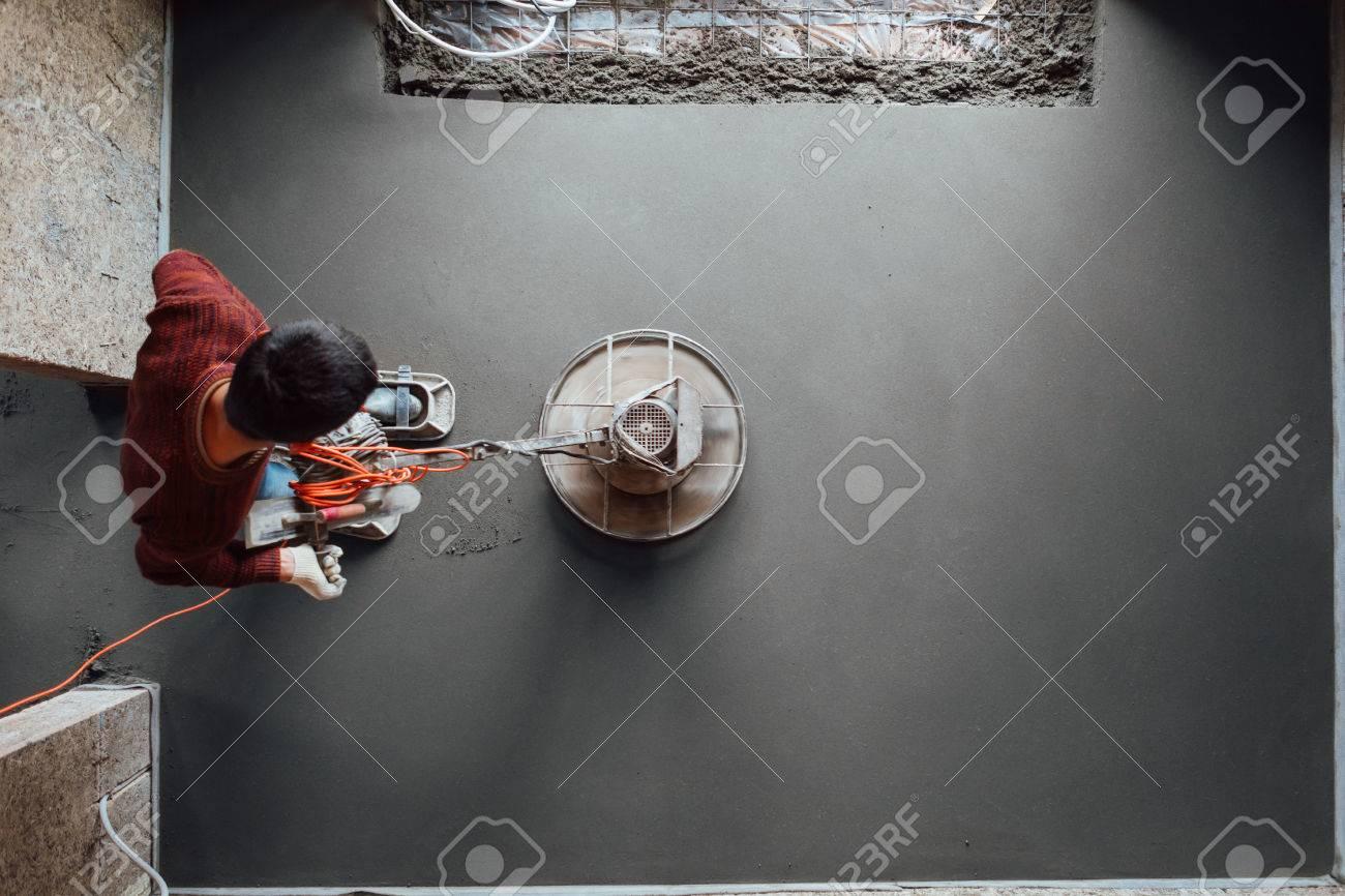 concrete floor final grinding, top view - 82436869