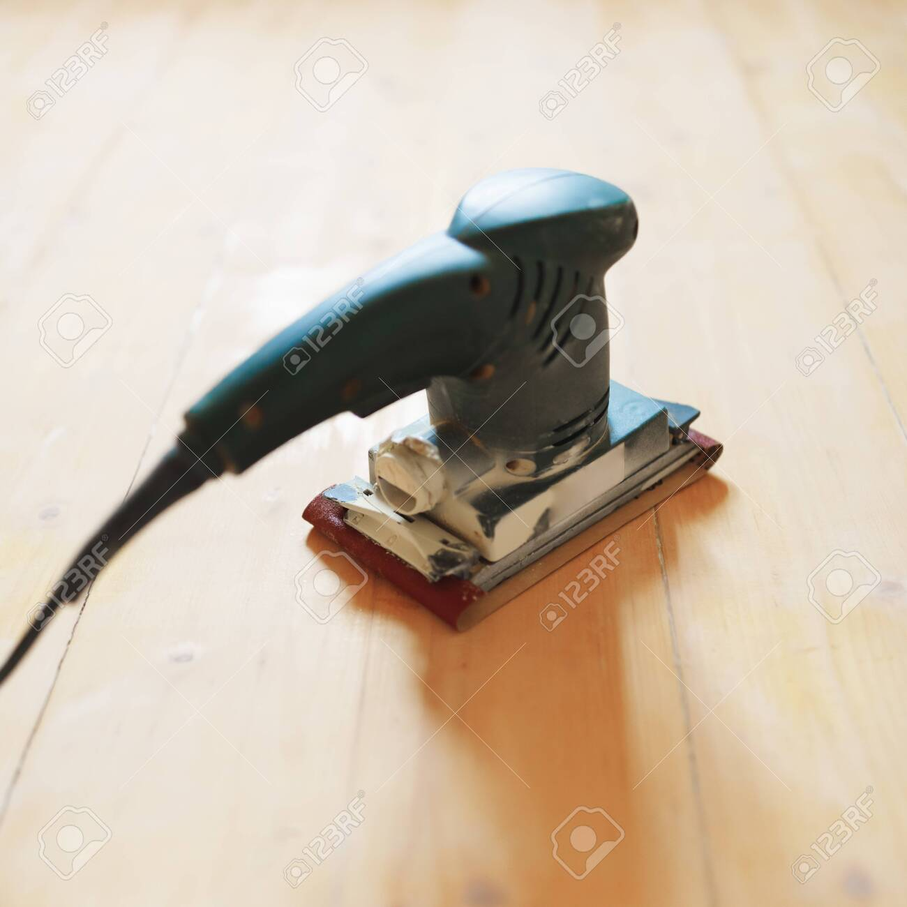 Wooden Floor Sanding With Flat Sander Tool Stock Photo Picture