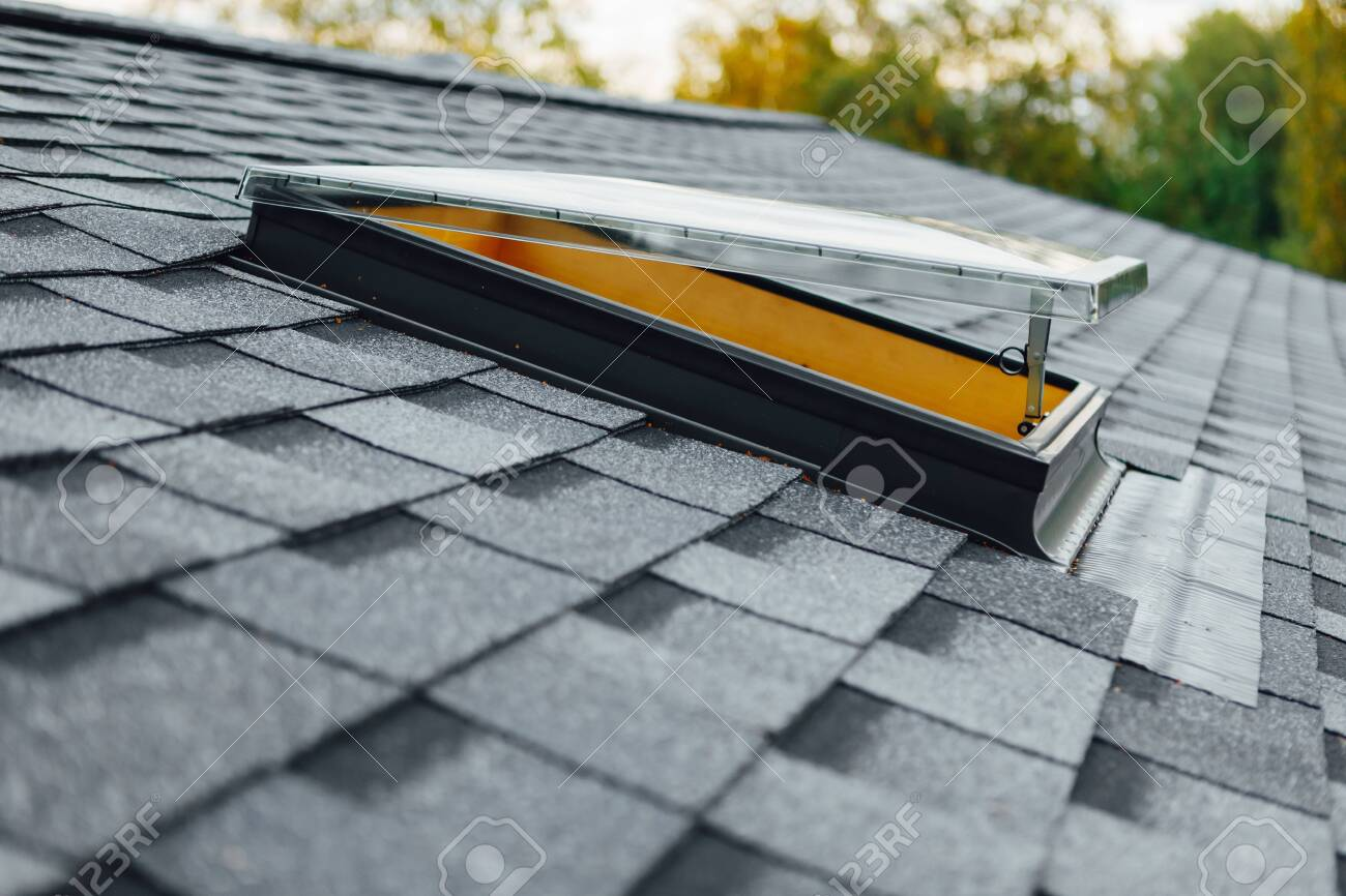 Open Roof Window On Shingles Flat Polymeric Roof Tiles Stock Photo Picture And Royalty Free Image Image 156559699
