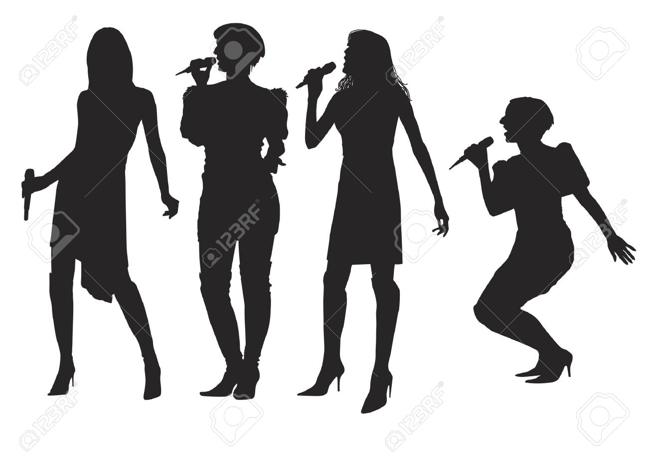 Girls singing with a microphone on the stage. Stock Vector - 21580524
