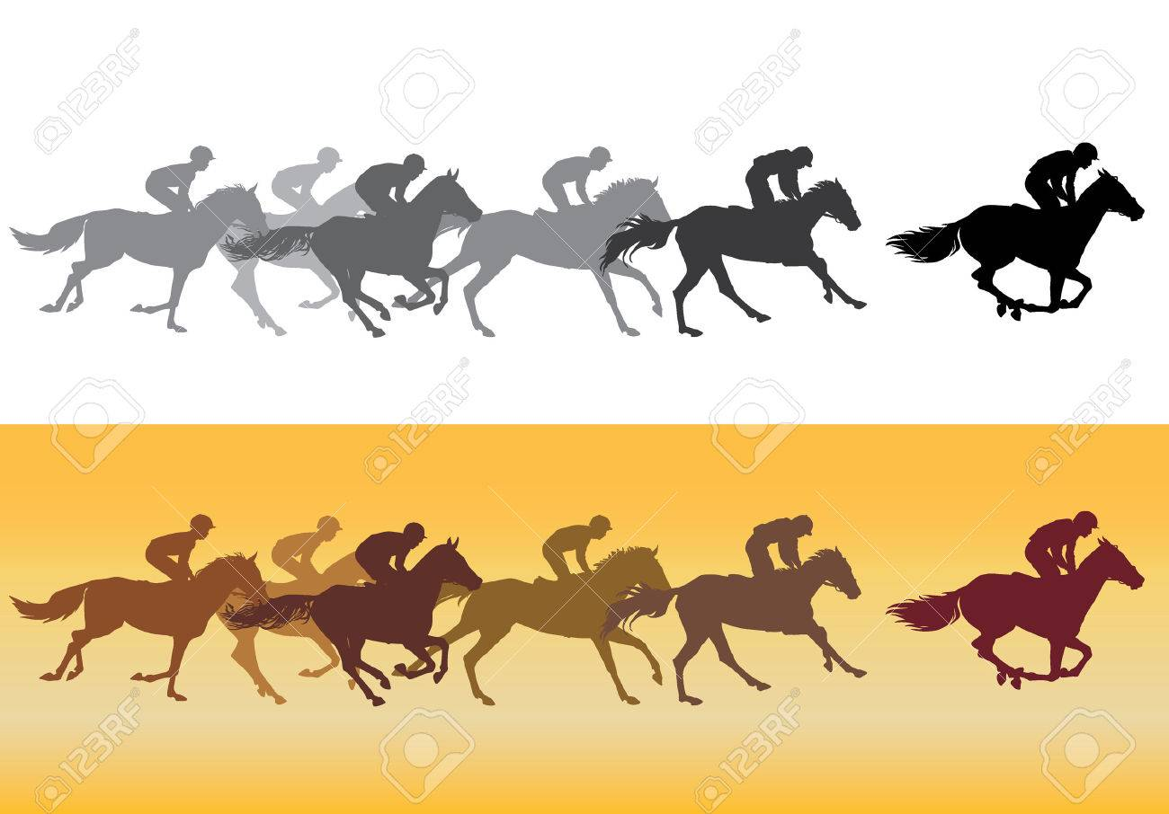 Horse Racing Competition Horse Racing At The Racetrack Black Royalty Free Cliparts Vectors And Stock Illustration Image 48061800
