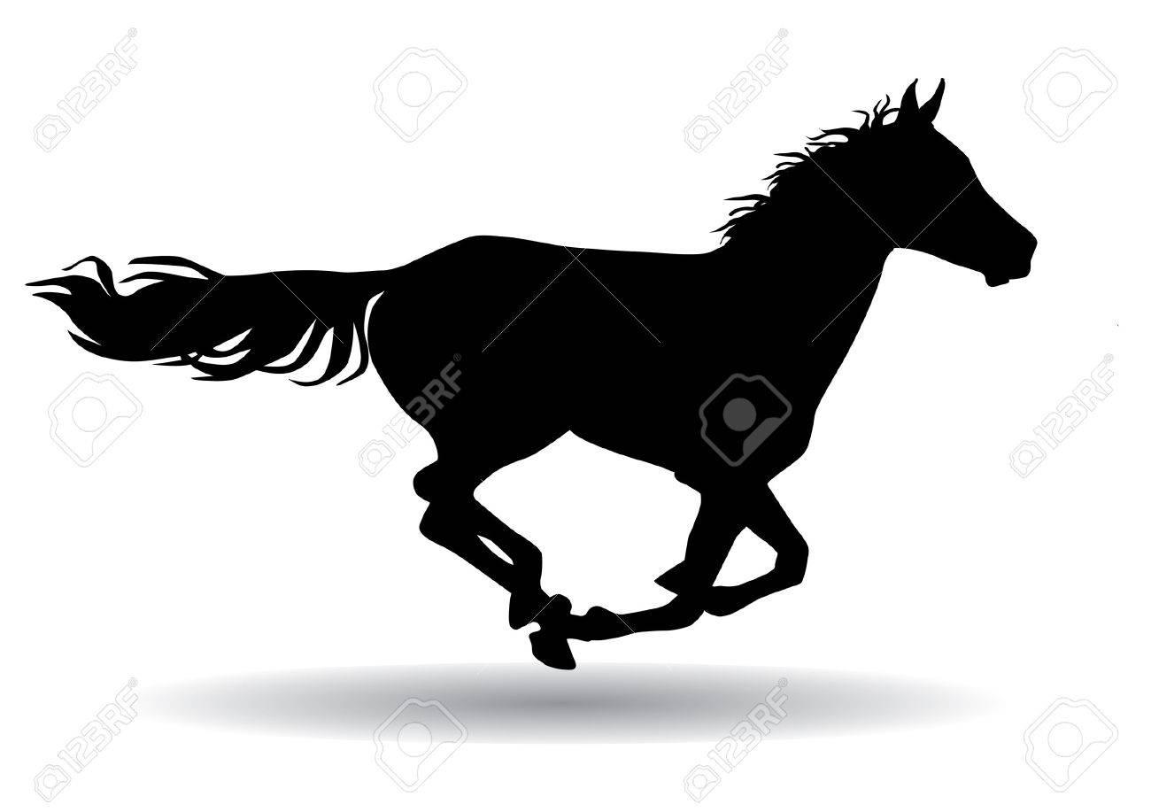 馬は高速で、白い背景のイラスト シルエット動物好き ロイヤリティフリー